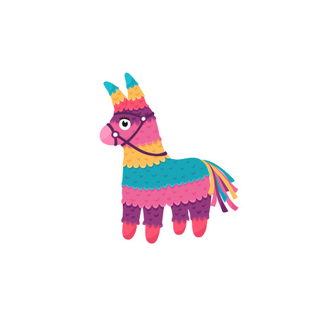 Colorful pinata isolated on white background. Mexcian traditional birthday toy. Standard-Bild - 123204716
