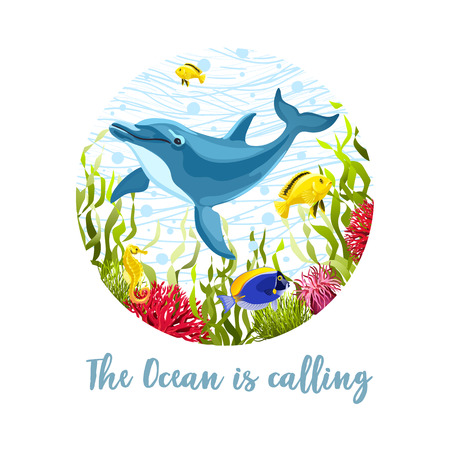 Sea life composition for T-shirt  design isolated on white background. Cartoon dolphin and fishes in seaweeds and corals vector illustration. Cute ocean wildlife print.