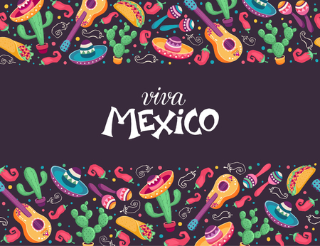 Viva Mexico poster in horizontal composition. Mexican culture symbols collection. Guitar, sombrero, maracas, cactus and jalapeno on chalkboard.