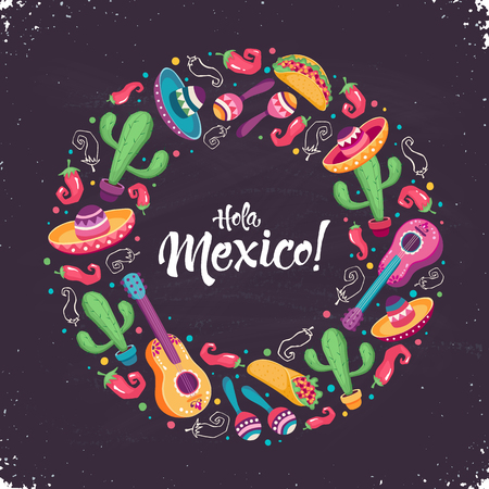 Hola Mexico poster vector illustration