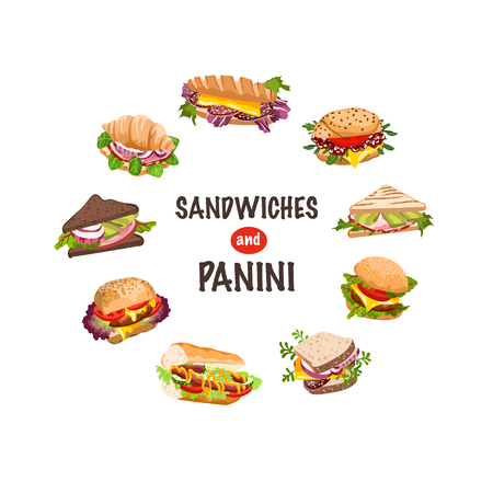 fresh sandwiches and panini vector illustration Vector Illustration