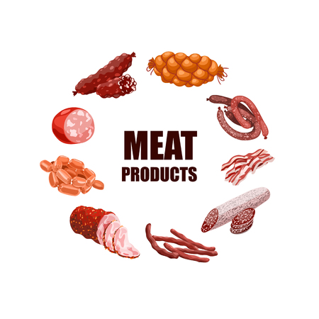 Meat Products Set Vector Illustration Vectores