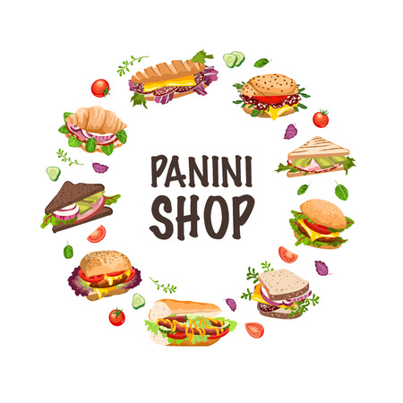 sandwichs et illustration vectorielle de panini Vecteurs