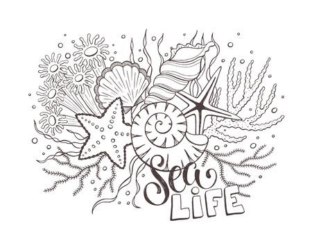 Sea life composition vector illustration