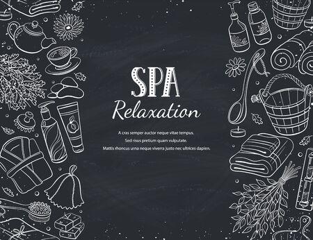 Sauna croquis illustration vectorielle affiche