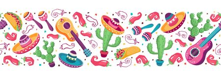 Mexican objects banner  イラスト・ベクター素材