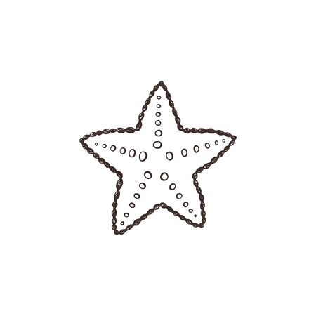 Starfish sketch collection vector illustration
