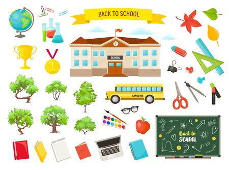 school objects vector collection