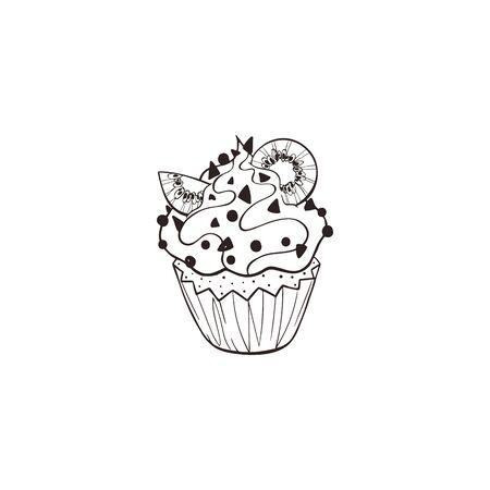 hand drawn cupcakes Illustration