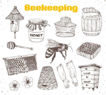 Beekeping Sketches Collection Ilustração