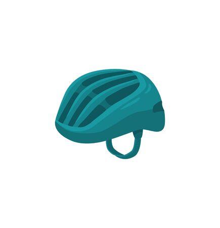 Ilustración de vector de casco deportivo. Casco de bicicleta colorido aislado sobre fondo blanco.