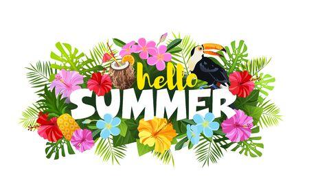 Hello Summer composition vector illustration