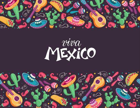 Viva mexico poster vector illustration  イラスト・ベクター素材