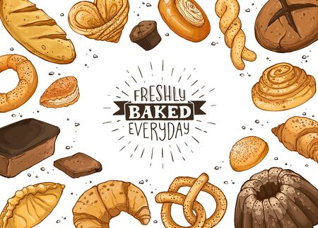 Freshly baked everyday lettering. Horizontal frame composition from hand drawn bread. Vector illustration for bakery shops. Fresh bread around text banner design. Ilustracja