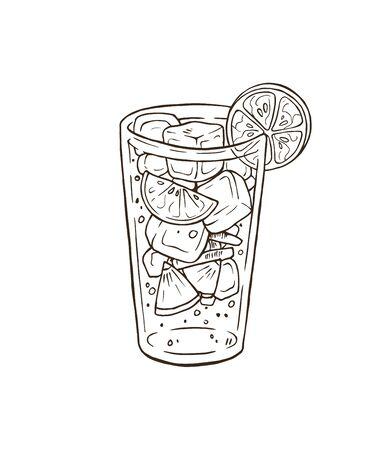 Ilustración de vector de cóctel dibujado a mano
