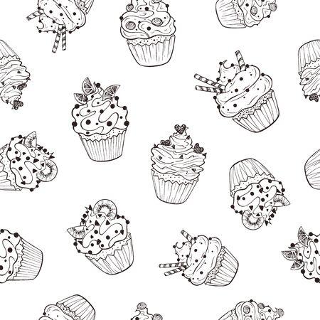 cupcakes seamless pattern Illustration