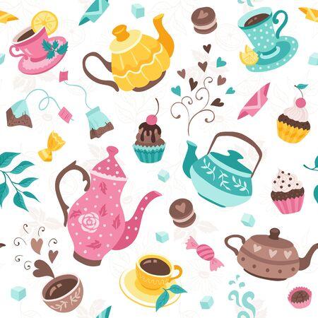 Patrón sin fisuras de la hora del té. Diseño de papel de regalo de fiesta de té. Dibujado a mano ilustración de doodle con teteras, tazas y dulces sobre fondo blanco.