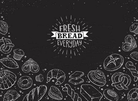 Fresh bread everyday banner. Horizontal frame composition with hand drawn bread and loaf, bagel and pretzel, muffin and croissant. Vector illustration banner design for bakery shops etc. Ilustração