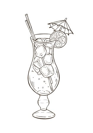 Hand drawn cocktail vector illustration isolated on white background. Cold and sweet summer drink in glass with ice, lemon and mint. Fresh tropical beverage sketch.
