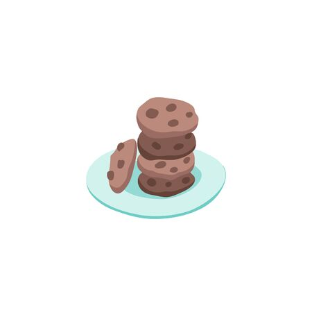 Hand drawn chocolate chip cookies on plate isolated on white background. Vector illustrations for cafe and restaurant menu design. Illustration