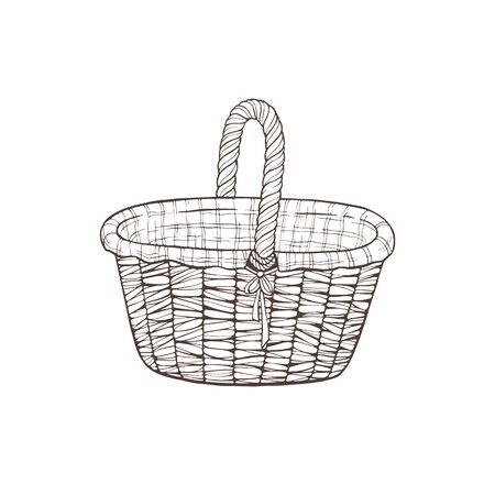 hand drawn basket vector illustration Çizim