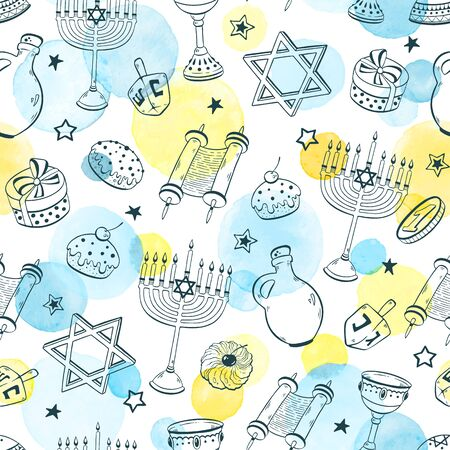 Hanukkah seamless pattern vector
