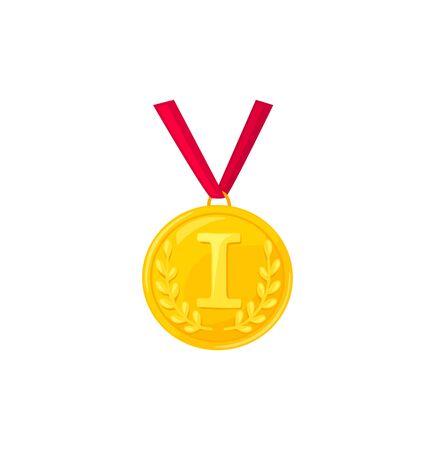 Vector llustration of sport golden medal isolated on white background. Stock Illustratie