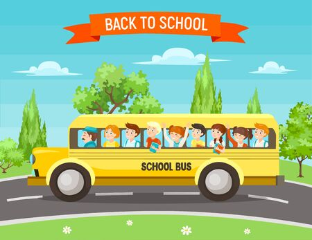 Back to school vector illustration. Cute happy kids with backpacks and books in traditional yellow school bus on the road, surrounded by trees.