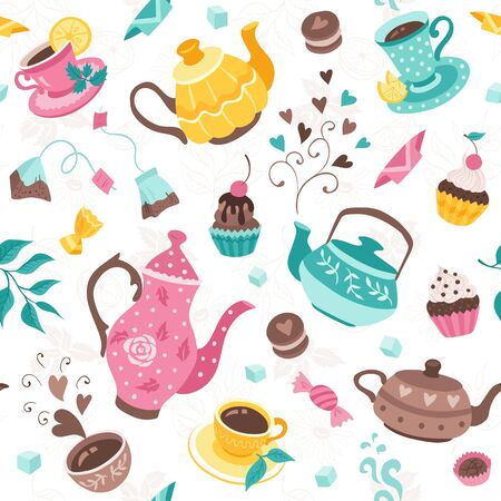 Tea time seamless pattern. Tea party wrapping paper design. Hand drawn doodle illustration with teapots, cups and sweets on white background. Stock Illustratie