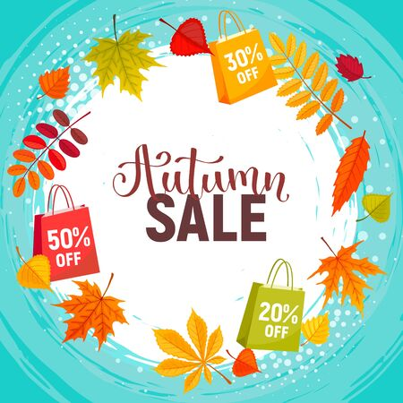 Autumn Sale Background with falling autumn leaves. Abstract vector Illustration. Fall offer template decorated with leaves for shopping discount or promo poster.
