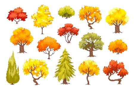 Colorful autumn trees. Cartoon yellow and orange tree and bush icon vector illusrtation isolated on white background. 일러스트
