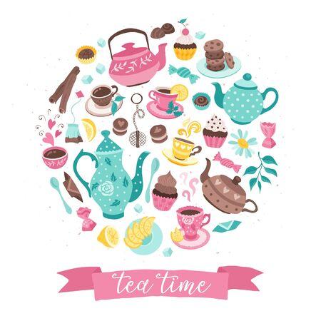 tea time circle composition