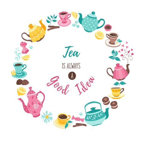 tea circle poster Иллюстрация