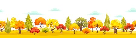 Autumn park cartoon tree landscape. Autumnal scene with colorful forest. Fall panorama woods environment vector background.