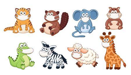 Vector animals in medicine masks