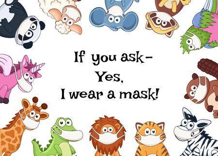 Vector animals in medicine masks Illusztráció