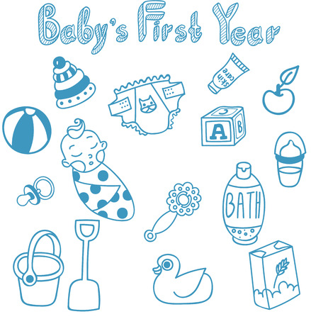 rubber ducks: Baby food, baby toys and other infant newborn objects Illustration