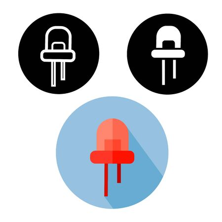 infrared: Black, white silhouette and red flat infrared LED easy editable icons. Ecological lighting solution Illustration