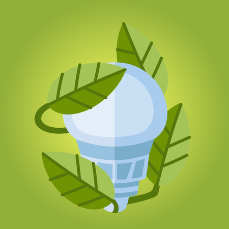 gree: Led Vector Bulb flat icon. Eco friendly Illustration