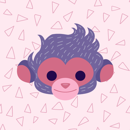 hairy girl: Vector character with simple triangle seamless pattern at the background. A symbol of Chinese New Year