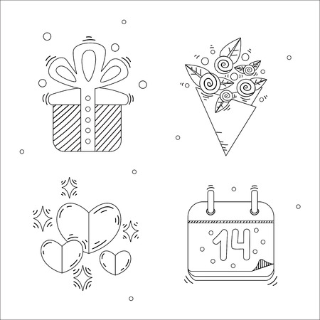 bunch of hearts: Holiday stylish Valentines Day linear icons with gift, rose bunch, hearts with stars and a calendar.