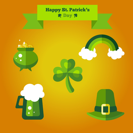 easy money: Stylish easy editable green icons with beer, rainbow, hat, pot with money and shamrock Illustration