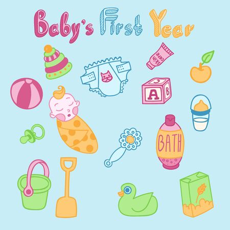 baby toys: Baby food, baby toys and other green, yellow, blue and pink