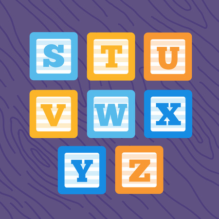 u s: Colorful blue, yellow and orange letter cubes S T U V W X Y Z. Wooden serenity background