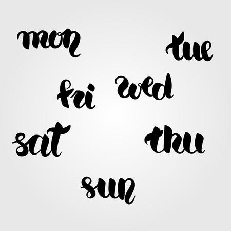 week: black and white calligraphy set of short days of week. Illustration