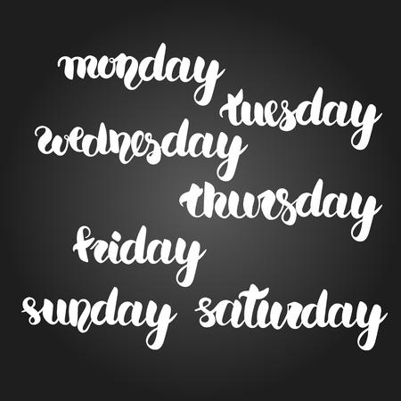 blanco conjunto de caligrafía de días completos de semana con el gradiente de fondo negro. fácil editable