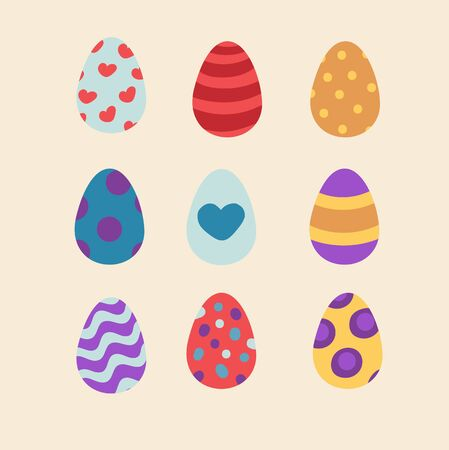 gently blue: Set of colorful Easter eggs. Eggs with heart, dots and stripes. Easy editable colors Illustration