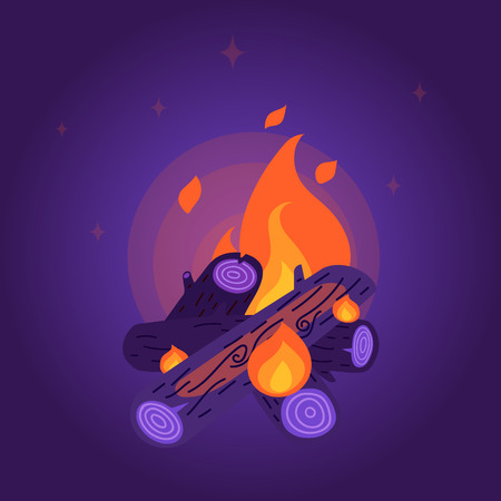 cozy: Flat style night bonfire. Stylish camping cozy fire in violet, orange and yellow colors with stars and glow around. Editable gradient background