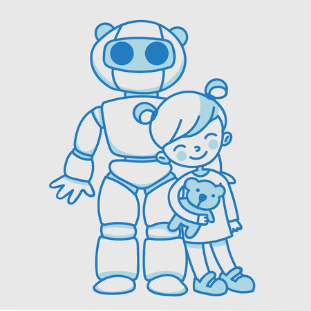 homeschooling: Little linear girl with domestic educational robot. A pupil with a robot teacher. Future lifestyle characters Illustration