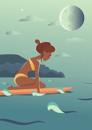 young girl bikini: Swimming surfer girl character illustration. Night sea landscape with sky stars and big full moon. Easy editable colors. Young adult woman in bikini with surfboard Illustration